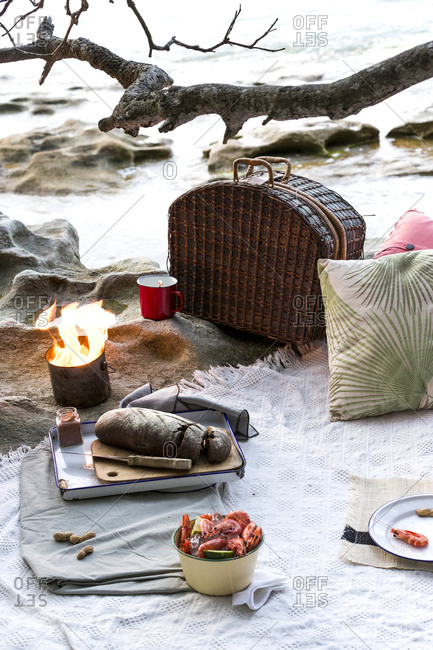 Cozy beachfront picnic with fire