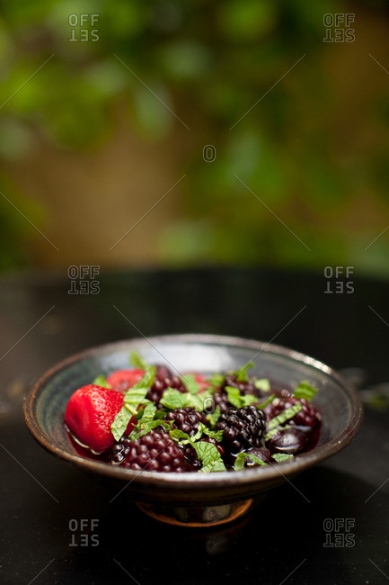 Berries with mint