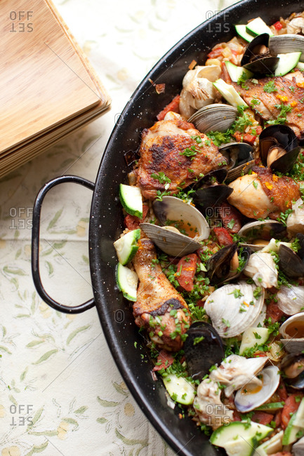 Close up of paella dish in a pan