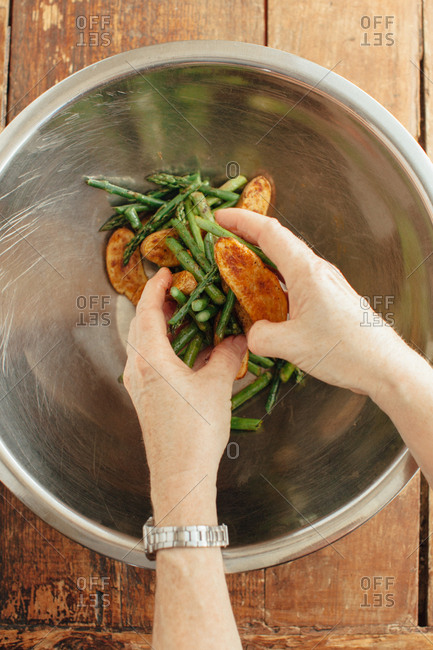 Tossed asparagus and roasted fingerling potatoes