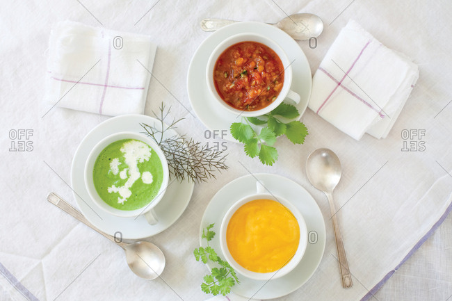 Three bowls of cold soups