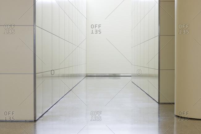 Empty tiled corridor