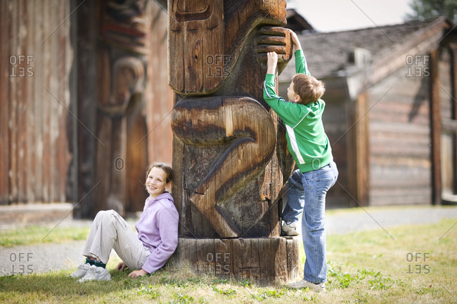 Two children at a historical site