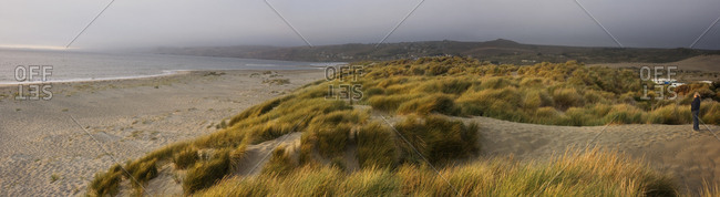 Beach and dunes under a stormy sky