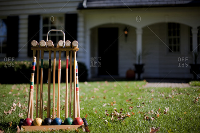 Croquet mallets in a rack