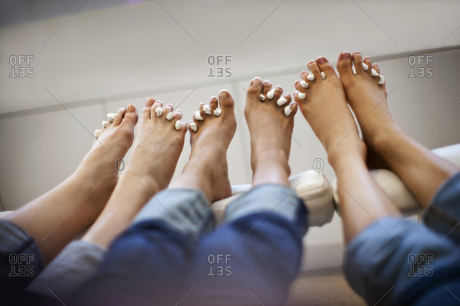 Friends getting a pedicure together