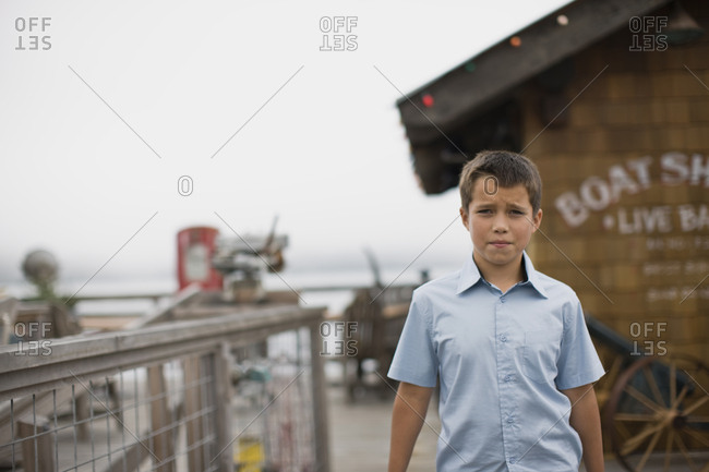 Young boy on a pier
