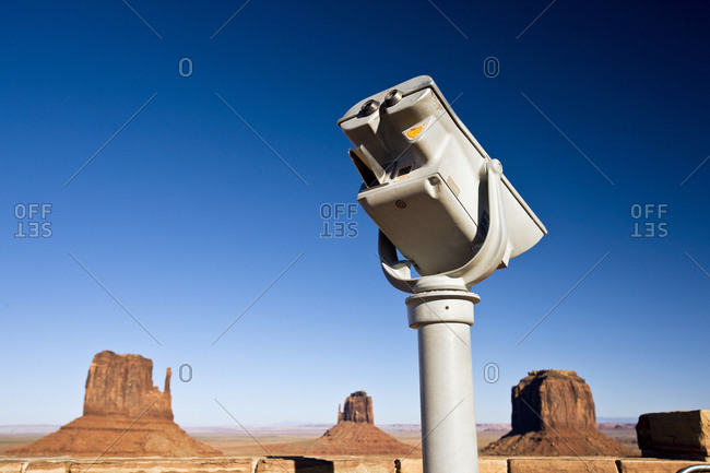 Binoculars for tourists to view the Mittens in Monument Valley, Utah, USA