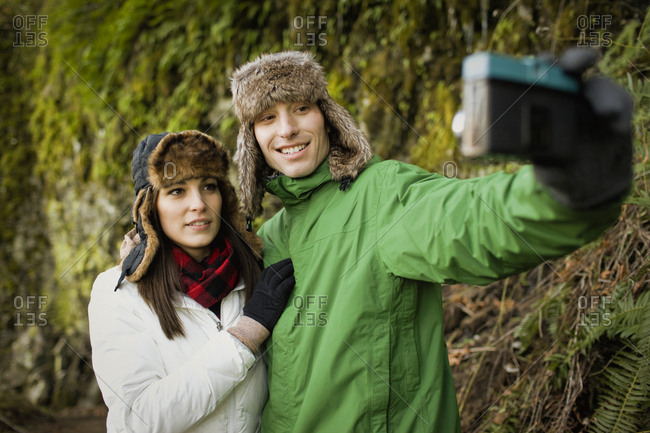 Couple taking a selfie while out for a walk