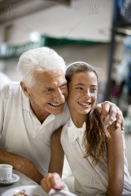 Senior man with his granddaughter