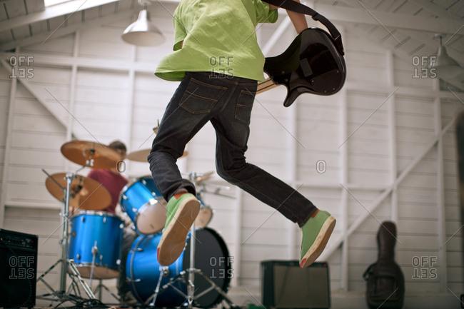 Garage band rehearsing