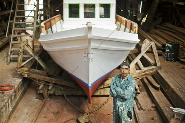 Boat builder in his shed