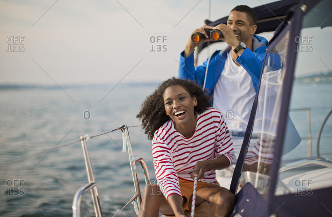Young couple sailing together