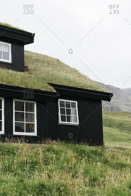 Traditional grass roof house in Denmark