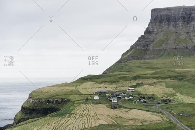 Small hillside village on the Faroe Islands