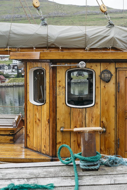 Boat with wooden cabin in Denmark
