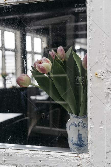 View of tulips in a window