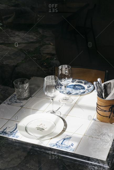 Set table in a restaurant in Denmark