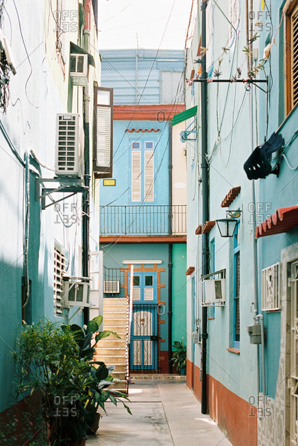 Havana, Cuba - March 20, 2017: Exterior of buildings in residential neighborhood