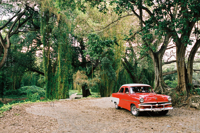 Havana, Cuba - March 20, 2017: Red classic car parked beneath trees in park