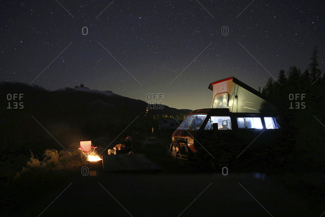 Person sitting by motor home at campsite against sky