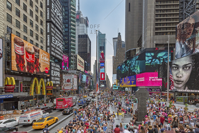 New York, New York - July 8, 2016: A view of Times Square on a sunny day