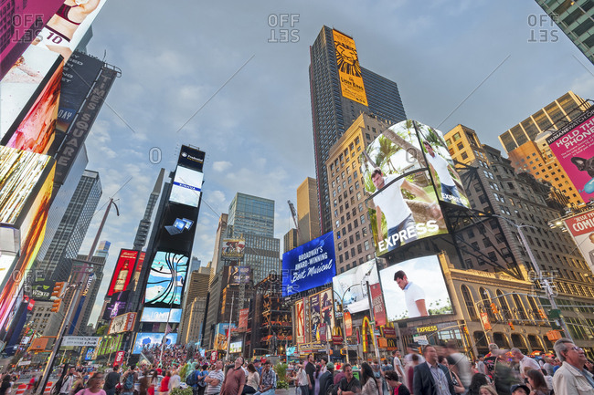 New York, New York - July 11, 2016: A ground view of Times Square