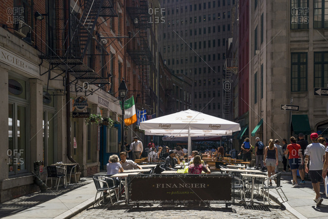 New York, New York - August 3, 2016: A pedestrian patio in downtown Manhattan
