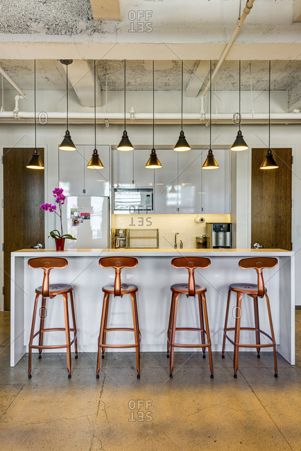 New York, New York - August 7, 2016: An office kitchen with copper features