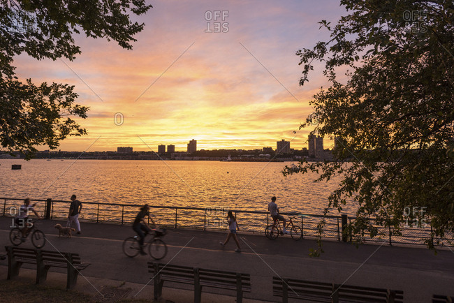 New York, New York - September 2, 2016: A general view of the Hudson River with pedestrian traffic