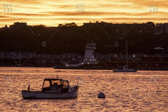 New York, New York - September 2, 2016: A boat moored in the Hudson River