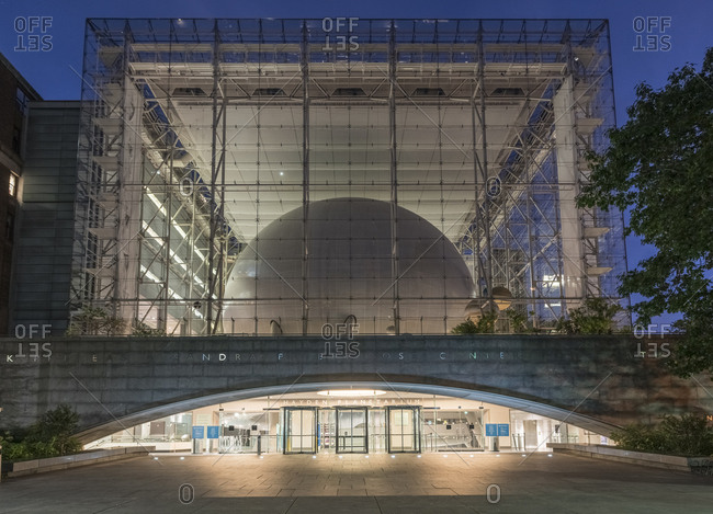 New York, New York - September 2, 2016: The American Museum of Natural History and Hayden Planetarium at twilight