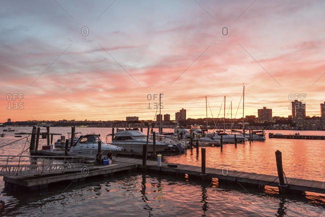 New York, New York - September 2, 2016: Boats anchored at a Hudson River marina