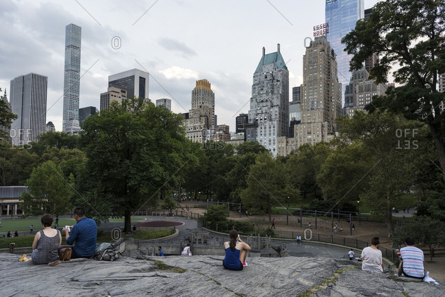New York, New York - September 9, 2016: Views of Central Park and the buildings on Park avenue