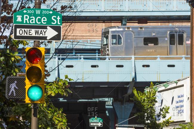 Philadelphia, Pennsylvania - October 9, 2016: A SEPTA train passing Race street in Philadelphia