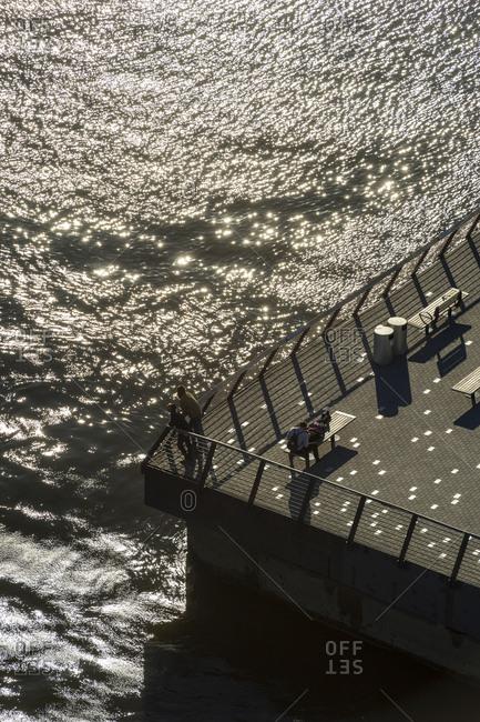 Philadelphia, Pennsylvania - October 9, 2016: An arial view of Race Street pier