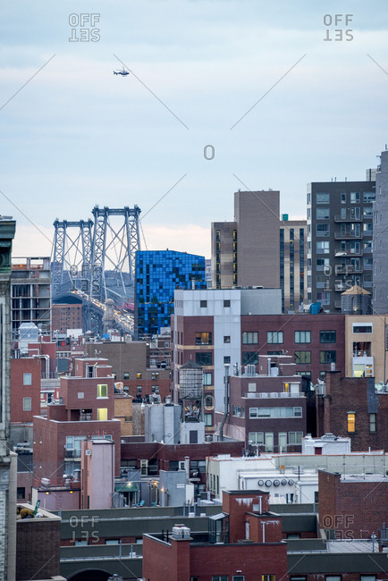 New York City rooftops with the Williamsburg bridge