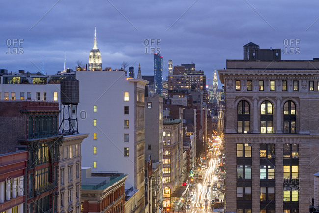 New York, New York - December 1, 2016: A rooftop view of a busy city street in manhattan