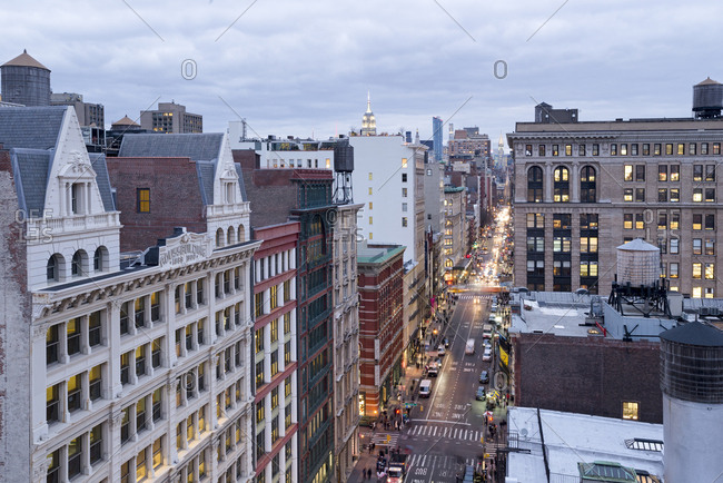 New York, New York - December 1, 2016: A rooftop view of a busy city street in lower manhattan
