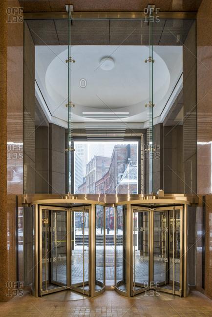 New York, New York - January 7, 2017: Glass revolving doors