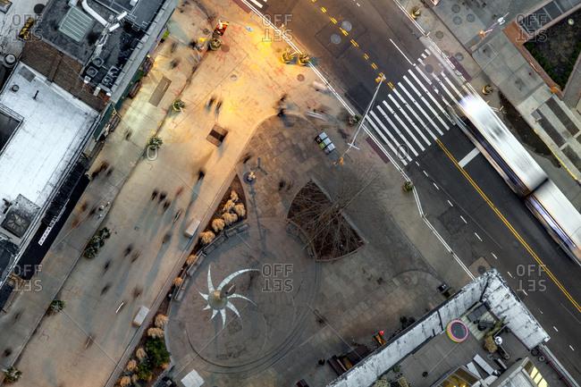 New York, New York - January 12, 2017: A busy New York city pedestrian park