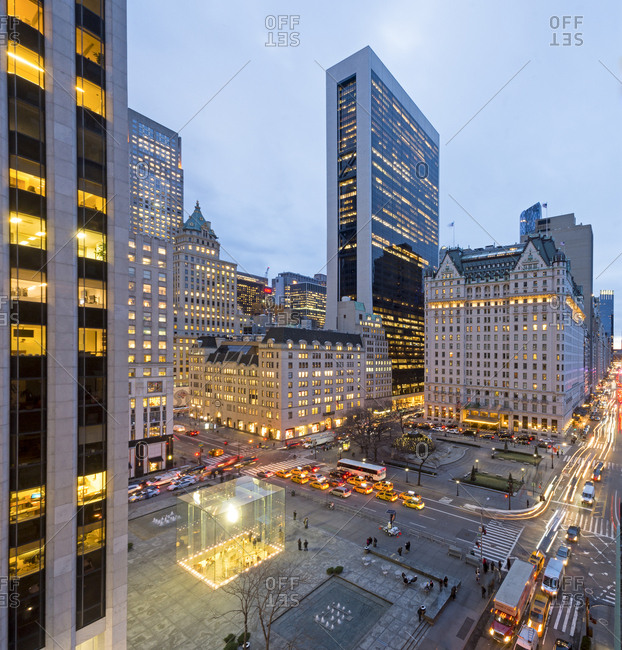 New York, New York - January 19, 2017: A view of 5th avenue and 57th street at night