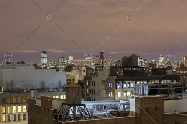 New York, New York - January 27, 2017: Rooftops and water towers in manhattan