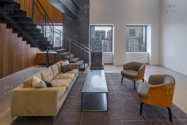 An office lobby with views of midtown manhattan