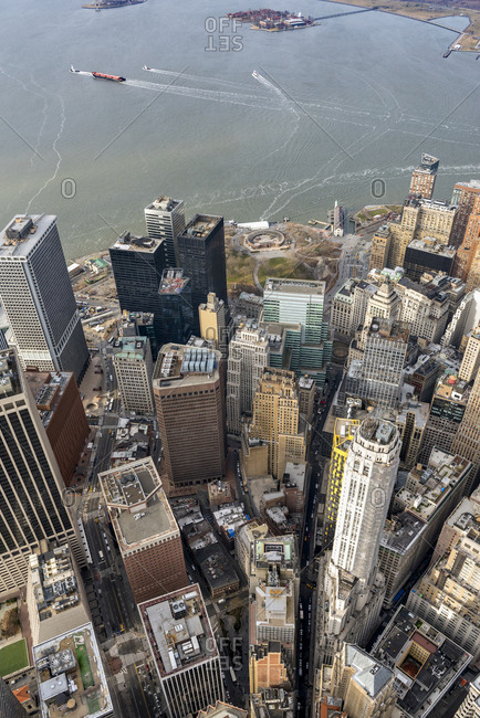 An aerial view of lower manhattan