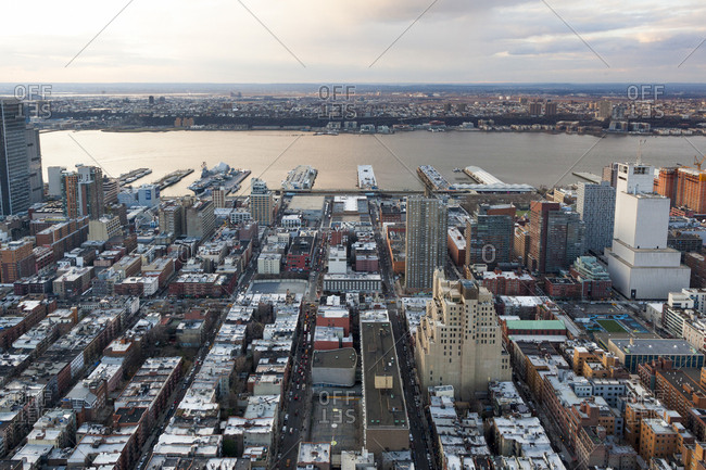 An aerial view of midtown manhattan looking toward New Jersey