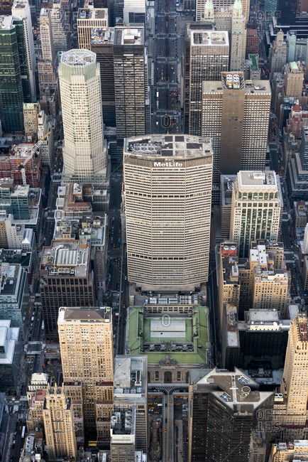 New York, New York - January 29, 2017: An aerial view of midtown manhattan