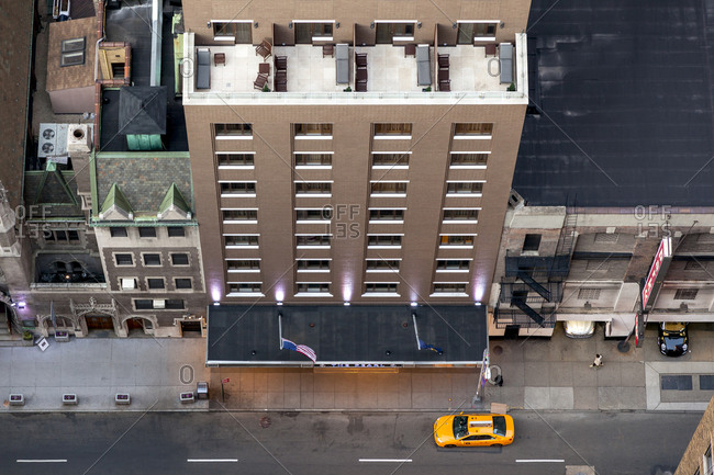 New York, New York - January 30, 2017: Looking straight down on a hotel in New York