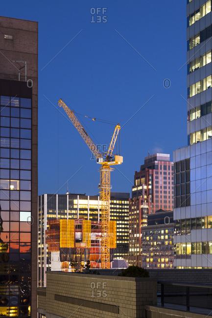 New York, New York - January 30, 2017: An crane in midtown manhattan at night