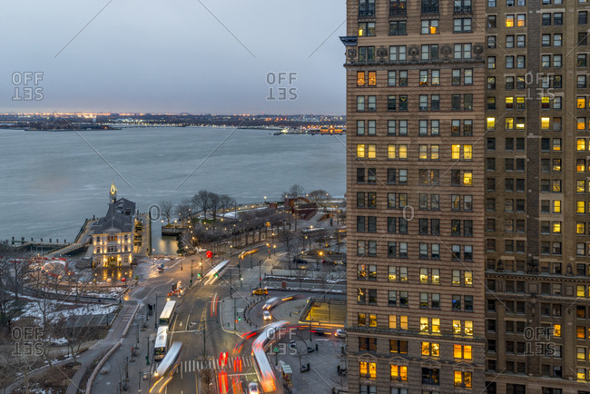 New York, New York - February 15, 2017: A rooftop view of Battery Park at night